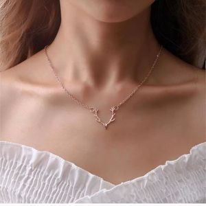 Jewelry - Deer Antler Necklace Rose Gold 11""